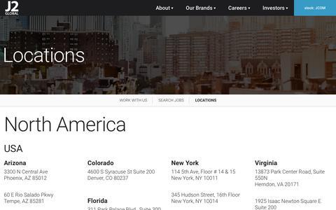 Screenshot of Locations Page j2global.com - Locations - J2 Global - captured July 19, 2019