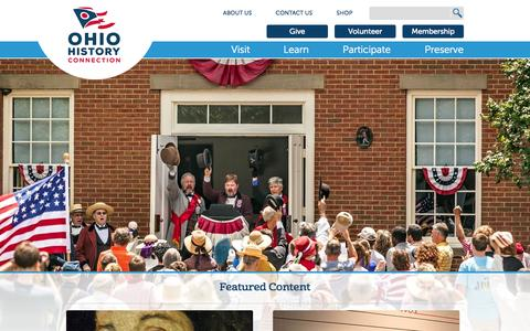 Screenshot of Home Page ohiohistory.org - Home | Ohio History Connection - captured June 18, 2015