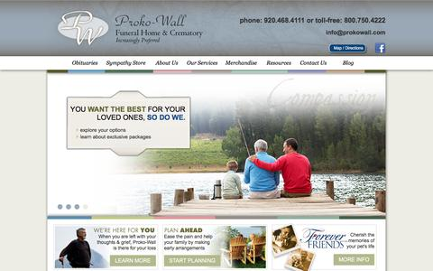 Screenshot of Home Page prokowall.com - Green Bay Funeral Home & Cremation Services : Proko-Wall - captured Sept. 16, 2017
