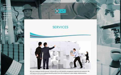 Screenshot of Services Page bsi-va.com - Services — BSI - The Benefit Services Company - captured Nov. 2, 2014