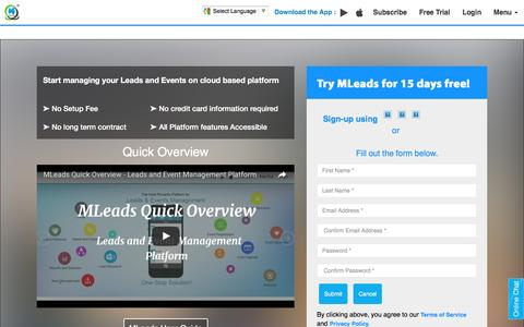 Screenshot of Trial Page myleadssite.com - Try Free trial for 15 days with All Platform features Accessible - captured Nov. 18, 2016
