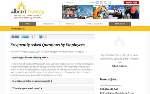 Screenshot of FAQ Page albertenergy.com - Employer Frequently Asked Questions | Albert Energy - captured Oct. 29, 2014