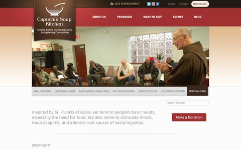 Screenshot of Home Page cskdetroit.org - Capuchin Soup Kitchen - - captured Sept. 26, 2018