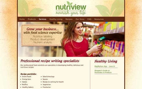Screenshot of Services Page nutriview.ca - Services - captured Oct. 6, 2014