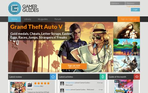 Screenshot of Home Page gamerguides.com - Free Premium Game Guides, Walkthroughs, Strategy Guides, Game Wiki Solutions - GamerGuides - captured July 17, 2014
