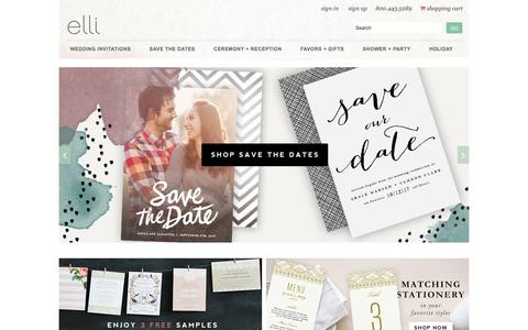 Screenshot of Home Page elli.com - Wedding Invitations and Save the Date Cards by Elli - captured Dec. 1, 2015