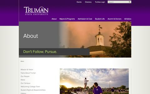 Screenshot of About Page truman.edu - About - Truman State University - captured Sept. 24, 2014