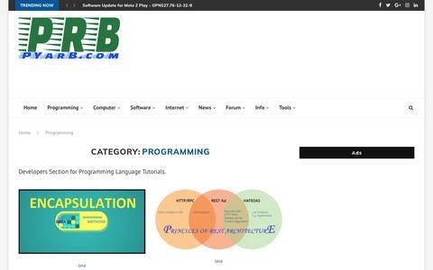 Screenshot of Developers Page pyarb.com - Programming Archives – PRB - Technical Blog - captured Sept. 25, 2018