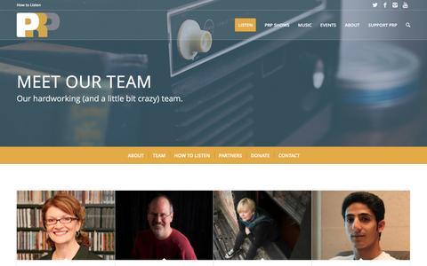 Screenshot of Team Page prp.fm - The PRP Team - captured Jan. 24, 2016
