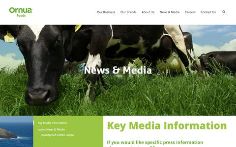 Screenshot of Press Page ornuafoods.co.uk - Key Media Information - captured May 6, 2017