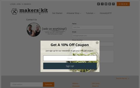 Screenshot of Contact Page makerskit.com - Contact Us – MakersKit - captured Oct. 20, 2016
