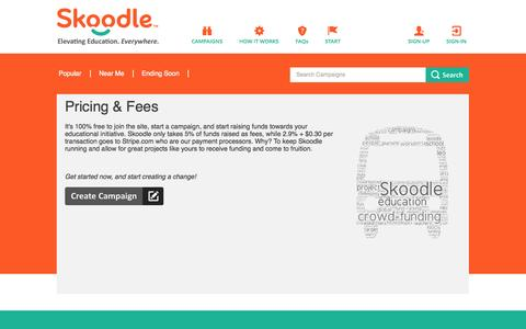 Screenshot of Pricing Page skoodle.co - Pricing & Fees | Skoodle - captured Oct. 26, 2014