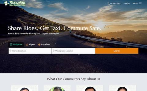 Screenshot of Home Page rideally.com - RideAlly - Carpool, Share Taxi - captured Dec. 5, 2015