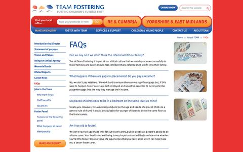Screenshot of FAQ Page teamfostering.co.uk - How To Foster A Child | Fostering Information & Questions - Team Fostering - captured Sept. 30, 2014