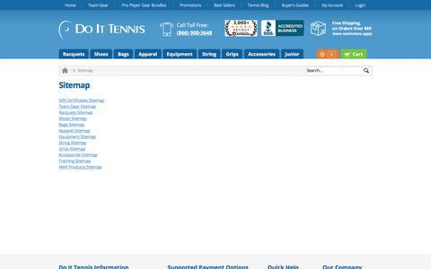 Screenshot of Site Map Page doittennis.com - Sitemap DoItTennis - captured July 28, 2018