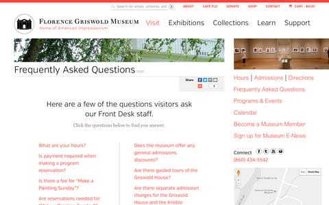 Screenshot of FAQ Page florencegriswoldmuseum.org - Florence Griswold Museum Frequently Asked Questions | Florence Griswold Museum - captured Jan. 14, 2017