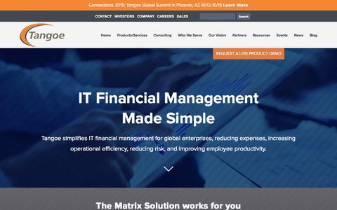 Screenshot of Home Page tangoe.com - IT Financial Management | IT Asset Management Software - Tangoe, Inc. - captured Oct. 7, 2015