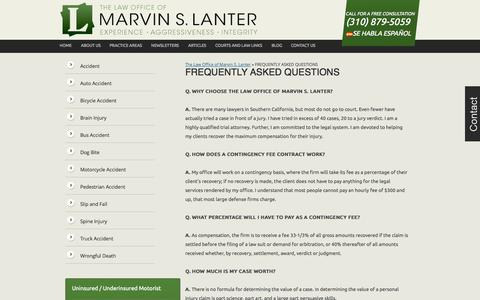 Screenshot of FAQ Page lanterlaw.com - FREQUENTLY ASKED QUESTIONS   The Law Office of Marvin S. Lanter - captured Oct. 1, 2014