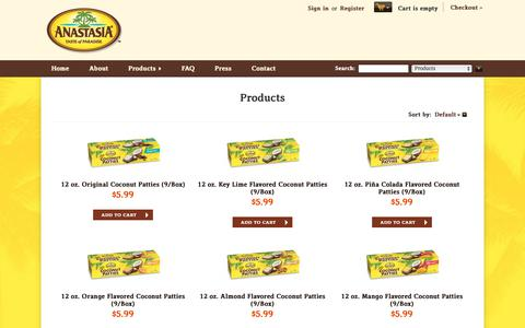 Screenshot of Products Page anastasiaconfections.com - Products - Anastasia Confections - Coconut Patties, Salt Water Taffy, Coconut Cookies, Coconut Candy - captured Oct. 3, 2018