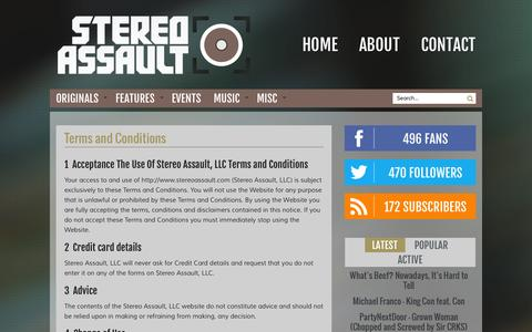 Screenshot of Terms Page stereoassault.com - Terms and Conditions | Stereo Assault - captured Oct. 7, 2014