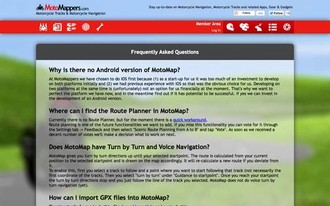 Screenshot of FAQ Page motomappers.com - Frequently Asked Questions - captured Oct. 7, 2014