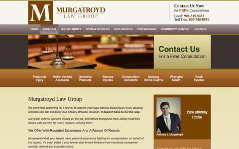 Screenshot of About Page murgatroydlaw.com - Murgatroyd Law Group | Flemington Personal Injury Lawyer - captured Oct. 1, 2014