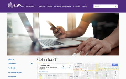 Screenshot of Contact Page cwc.com - Cable & Wireless Communications | Get in touch - captured Sept. 23, 2018