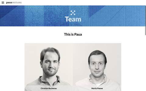 Screenshot of Team Page pauaventures.com - Team - Paua Ventures - captured July 16, 2017
