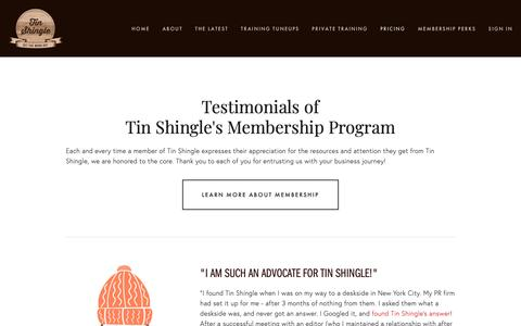 Screenshot of Testimonials Page tinshingle.com - Testimonials — Tin Shingle - captured Oct. 2, 2018