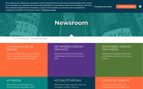 Screenshot of Press Page cision.fr - Newsroom - Cision dans les médias | Cision - captured July 11, 2018