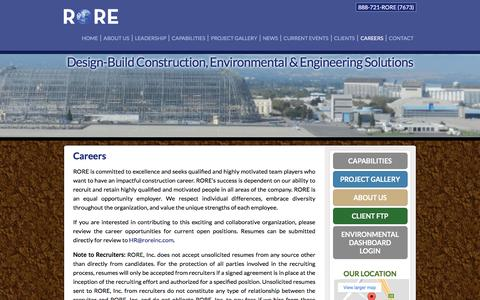 Screenshot of Jobs Page roreinc.com - Construction Careers San Diego China Lake Richmond Coronado Oceanside Ventura County Pendleton - captured Nov. 13, 2017