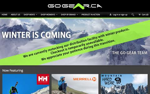 Screenshot of Home Page gogear.ca - Inside Deals for Outdoor Life - captured Jan. 30, 2016