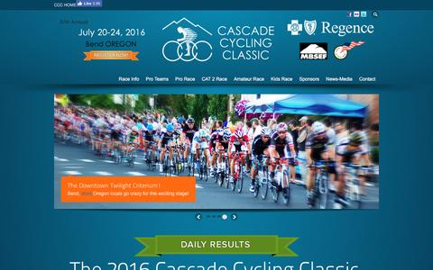Screenshot of Home Page cascade-classic.org - Cascade Cycling Classic Presented by Regence BlueCross BlueShield of Oregon - captured Sept. 23, 2016