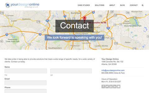 Screenshot of Contact Page yourdesignonline.com - Contact   Your Design Online - captured Oct. 27, 2014