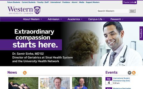 Screenshot of Home Page uwo.ca - Western University - captured Aug. 23, 2017