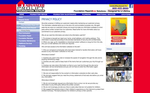 Screenshot of Privacy Page foundationrepairs.com - Privacy Policy - captured Oct. 4, 2014