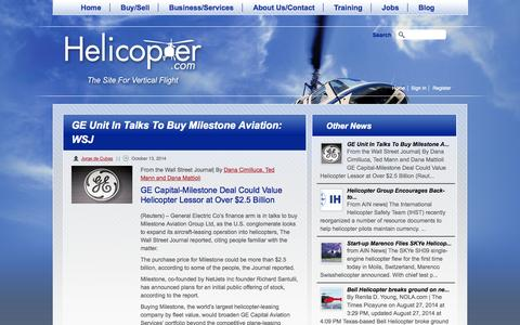 Screenshot of Press Page helicopter.com - GE Unit In Talks To Buy Milestone Aviation: WSJ | Helicopter.com - captured Nov. 2, 2014