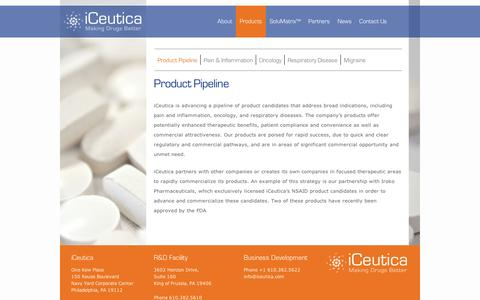 Screenshot of Products Page iceutica.com - Product Pipeline | iCeutica - captured Sept. 11, 2014