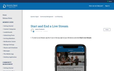 Screenshot of Support Page dynamicsignal.com - Start and End a Live Stream – Dynamic Signal - captured Nov. 4, 2019