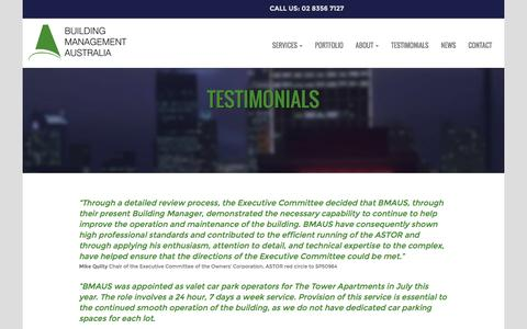 Screenshot of Testimonials Page bmaus.com.au - TESTIMONIALS - Building Management Australia - captured Nov. 23, 2016