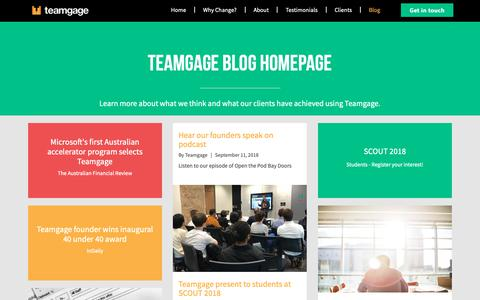 Screenshot of Blog teamgage.com - Teamgage blog homepage - captured Oct. 20, 2018