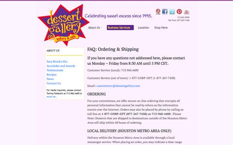 Screenshot of Support Page dessertgallery.com - Dessert Gallery Bakery Cafe | Houston  |  FAQ: Ordering & Shipping - captured Oct. 5, 2014