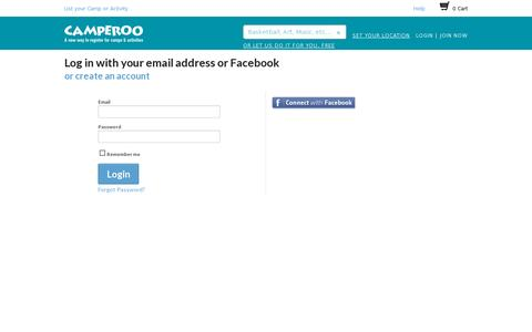 Screenshot of Login Page camperoo.com - Login - captured July 19, 2014