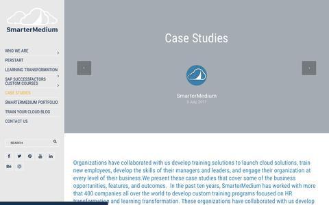 Screenshot of Case Studies Page smartermedium.com - Case Studies - SmarterMedium - captured Oct. 22, 2017