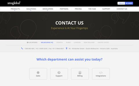 Screenshot of Contact Page smsglobal.com - Contact Us | Sales - Support - Billing - Integrations Help - captured July 26, 2018
