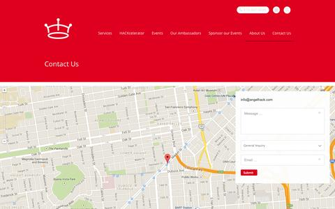 Screenshot of Contact Page Signup Page angelhack.com - Contact Us  | AngelHack - captured Oct. 23, 2014