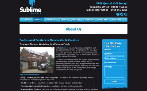 Screenshot of About Page sublimedecor.co.uk - About Us | Painters & Decorators in Manchester & Cheshire | Sublime Decor - captured Sept. 30, 2014