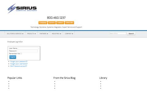 Screenshot of Login Page mysiriuszone.com - Employee Log In/Out - Sirius Computer Solutions - captured Feb. 4, 2016