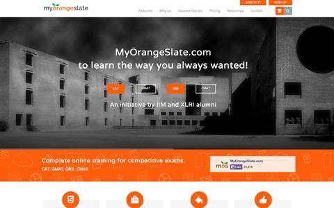 Screenshot of Home Page myorangeslate.com - MyOrangeSlate | CAT Coaching|Online GMAT Preparation|GRE Training - captured Sept. 19, 2014