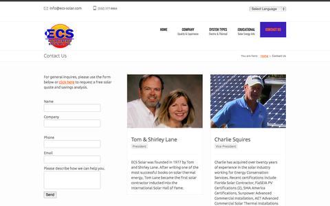 Screenshot of Contact Page ecs-solar.com - Contact Us - ECS Solar Energy SystemsECS Solar Energy Systems - captured Oct. 27, 2014